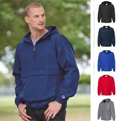 Champion Men/'s 1//4-Zip Hooded Pullover Pack-Away Solid Jacket CO200 Packable