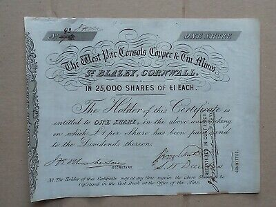 share certificate 1850s West Par Consols Copper & Tin Mines, St Blazey, Cornwall