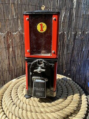 Vintage All Original Victor 1 One Cent Gumball Nut  Machine With Key WORKS!
