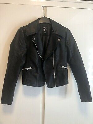 New Look 915 Girls Faux Leather Black Jacket Size 10-11 Years