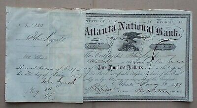 USA 1877 Atlanta National Bank (Georgia) stock certificate s/by Alfred Austell