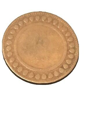 1908 Tunisia 10 Centimes Coin 🇹🇳 KM 236 Feather Africa Really Nice!