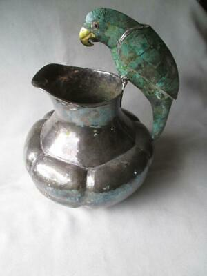 "EMILIA CASTILLO ""PLATEADO"" PITCHER w/ INLAID TURQUOISE PARROT HANDLE"