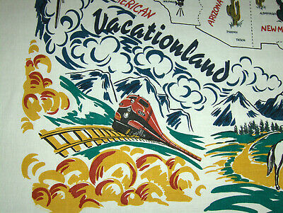 Vintage-Style Tablecloth - Vacationland - USA map & attractions!
