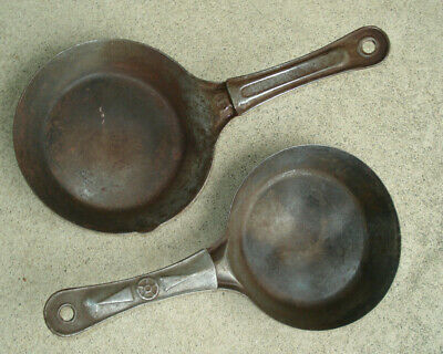 "Set Pair 2 VINTAGE COLD HANDLE CAMP SKILLETS 6"" Camping Lightweight"