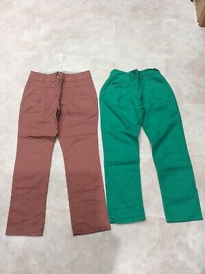 2 Pairs Of Girls Next Chino Trousers, Age 11 Years, Green, Brown
