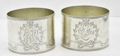 Pair of Antique engraved Sterling Silver #160 Napkin Rings Different Mono's