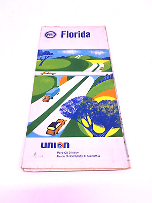 1968 Pure Oil Florida Vintage Road Map 🗺