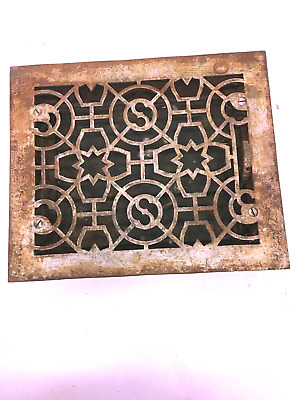 Antique Cast Iron Decorative Heat Grate Register Vtg Vent Working Ornate E