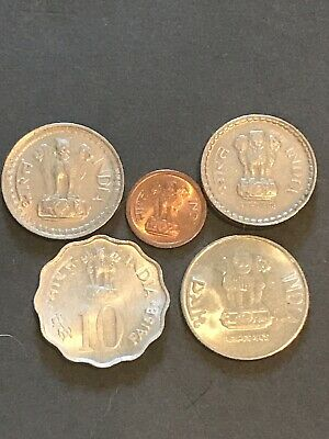Indian Coins With Leopards - Lot Of 5 India Rupee Paise Coin 🇮🇳 🐆 🇮🇳 Nice!