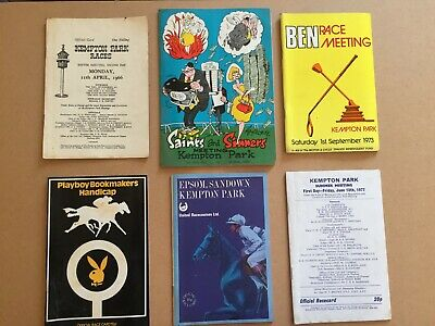 Collection of six vintage racecards from Kempton Park, 1966-1977