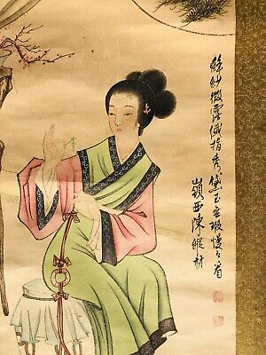 """JAPANESE HANGING SCROLL ART Painting """"Beauty"""" Asian antique"""