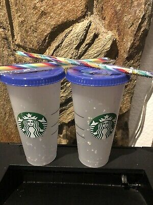 Set Of 2 Starbucks Confetti Color Changing Cup Rainbow Straw Pride 2020 Reusable
