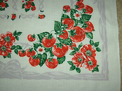 Vintage Tablecloth - Strawberries, Wild Roses, Ribbons & Bows