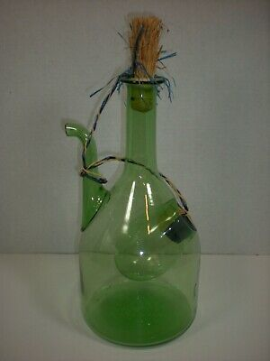 Vtg Wine DECANTER Green Glass Pitcher Ice Chamber Large DEMIJOHN Bottle ITALY