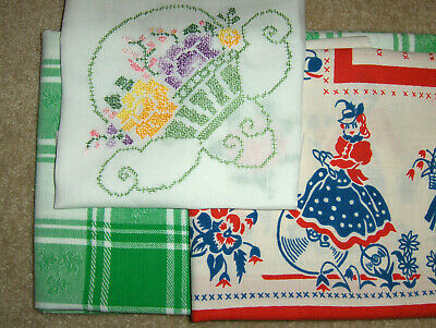 Tablecloth Lot - some vintage - People, shamrocks, flowers