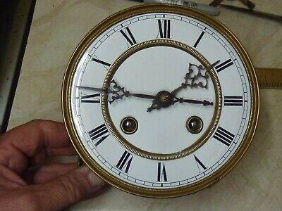 Antique Wall Clock  Movement & Enamel Dial - Gong & Sled