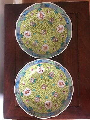 A Pair Chinese Antique Porcelain Hand painting famille rose plates  Qing Dynasty