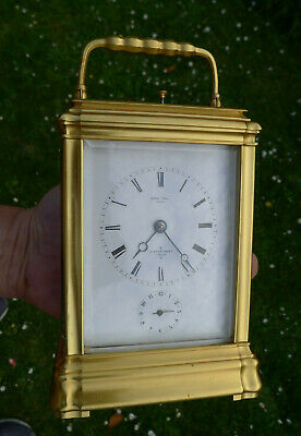Antique GORGE CASED CARRIAGE CLOCK MANTEL 8-day REPEATER Gilded Case & Mask Top
