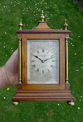 Antique Walnut GOLDSMITHS & SILVERSMITHS Mantel Bracket clock 8-day