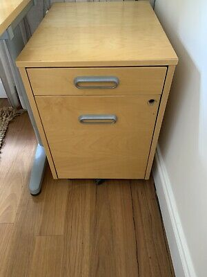 2 Drawer - Birch Wood Filing Cabinet with Inserts