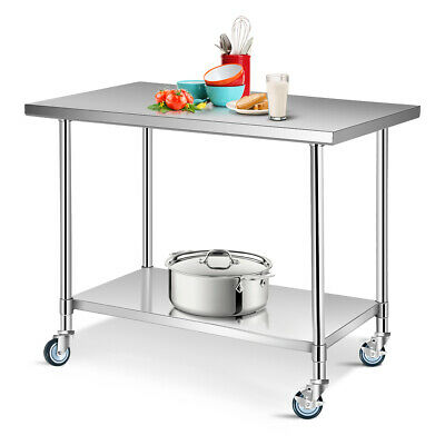 """30"""" x 48"""" Stainless Steel Commercial Kitchen Tool Prep & Work Table w/ 4 Wheels"""