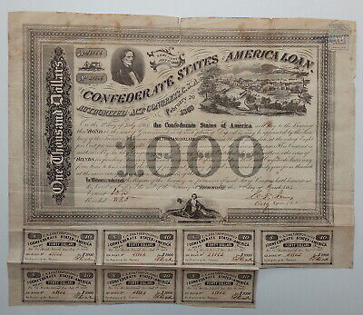 1863 $1000 Confederate bond - vignettes of President Jefferson Davis & Richmond