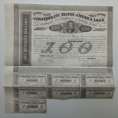 1863 $100 Confederate bond - vignette of Vice President Alexander H Stephens