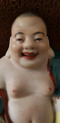 Stunning Antique Chinese Famille Rose Porcelain Laughing Buddha 65mm high