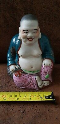 Stunning Antique Chinese Famille Rose Porcelain Laughing Buddha 150mm high
