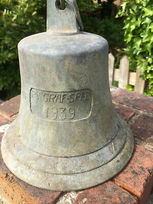 1939 Vintage Brass and Wrought Iron Large Loud Wall Bell Gong