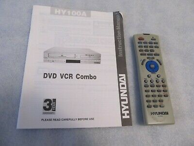 Hyundai DVD VCR combo HY100A instructions & control unit (not the player)