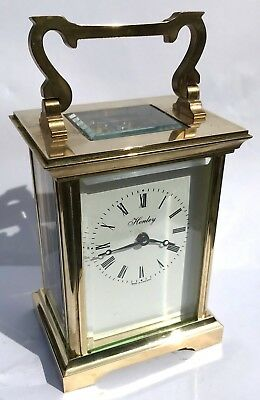 HENLEY Brass Carriage Mantel Clock Timepiece with Key  Working Order