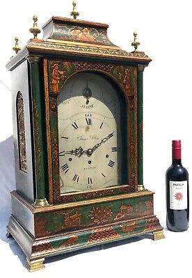 Antique Chinoiserie Green Laquered Triple Fusee Bracket Clock Chiming On 8 Bells