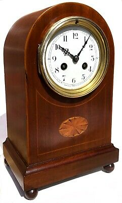 Lovely Antique French Inlaid Mantel / Bracket Clock Marquetry