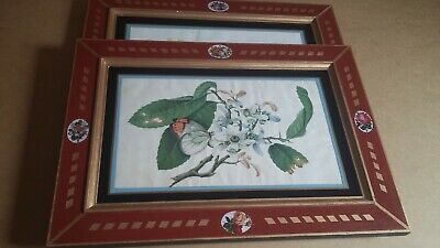 """Chinese Paintings Antique Pair Pith Rice Qing Dynasty Large 12"""" x 16.5"""" -"""
