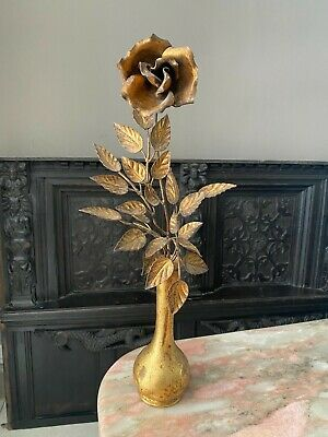 VINTAGE Gilt Metal Rose Toleware Rose in Vase Hollywood Regency