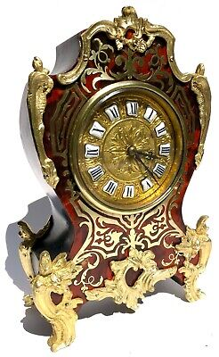 Antique Boulle Red Shell Mantel / Bracket Clock With Ormolu Mounts