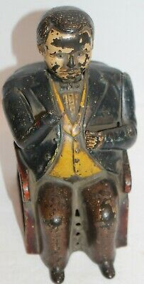 Antique J & E Stevens Cast Iron Tammany Bank Seated Banker 1870's 1873 As Is