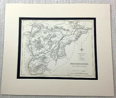 1872 Antique Map of Merionethshire Wales Sir Feirionydd Welsh Old 19th Century