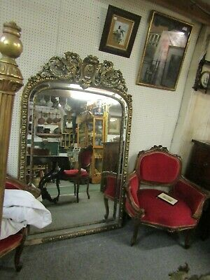Stunning Antique 19Th C Gilt Gesso French Large Arched Top Mirror Dragons A/F