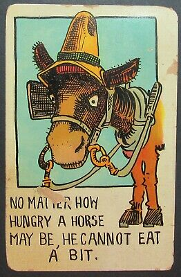 No Matter How Hungry Horse May Be Can't Eat s Bit Old Comic Postcard Posted 1909