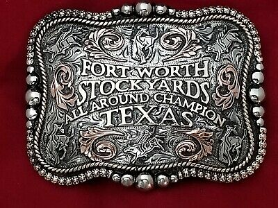 Vintage Rodeo Trophy Belt Buckle~ Fort Worth Texas All Around Champion #58