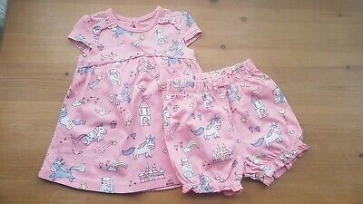 George Baby Girls Coral Dress And Shorts Set Unicorn Print Age 0-3 Months