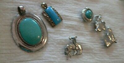 Lot of 6 Western Costume Jewelry-1 Cowboy,3 Buttoncovers+2 Pendants