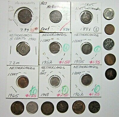 Netherlands. Vintage Lot Of 20 Assorted Coins. See Pics.