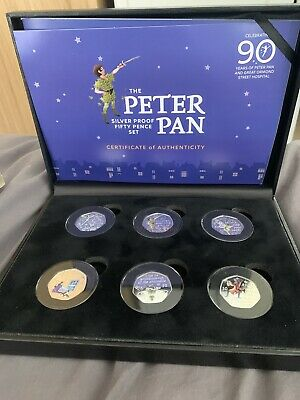 The Official Peter Pan Silver Proof 50p Coloured Coin Full Set 2019   *IN HAND*