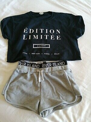 Girls Crop Top And Shorts Black & Grey River Island Age 9-10