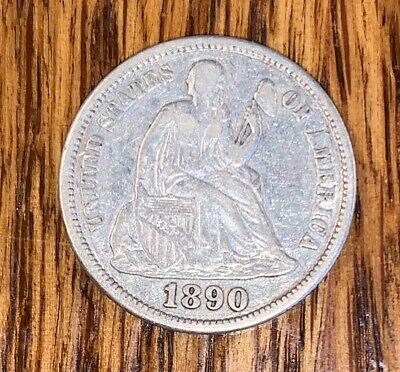 1890-S LIBERTY SEATED SILVER Dime! VF+.