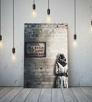 Banksy Alice Out Of Wonderland -Deep Framed Canvas Wall Art Graffiti Print- Red